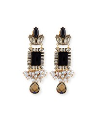 Sequin Mixed Crystal Statement Earrings Black