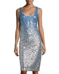 Nicole Miller New York Sleeveless Ombre Sequin Cocktail Dress Blue Metallic