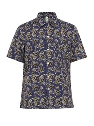 Finamore 1925 Bart Floral Print Cotton And Linen Blend Shirt Blue