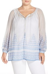 Plus Size Women's Lucky Brand Sheer Chevron Print Peasant Blouse