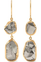 Pippa Small 18 Karat Gold Pyrite Earrings One Size