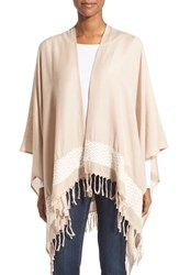 Women's Caslon Fringe Wrap Brown Tan Combo