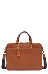 Fossil Men's Defender Leather Briefcase Brown Cognac