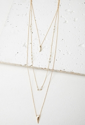 Forever 21 Layered Bead Charm Necklace Gold White