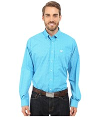 Cinch Long Sleeve Plain Weave Print Shirt Turquoise 3 Men's Long Sleeve Button Up Blue