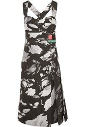 Prada Wrap Effect Printed Satin Twill Midi Dress Black