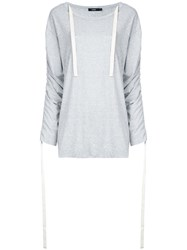 Bassike Ruched Sleeves T Shirt Women Cotton 6 Grey