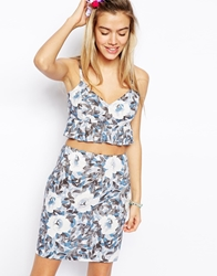 Asos Reclaimed Vintage Cami Top With Frill In Floral Print Blue