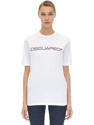Dsquared Logo Cotton Jersey T Shirt White
