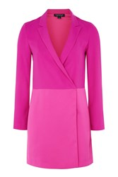 Topshop Contrast Panel Blazer Dress Bright Pink