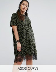 Asos Curve T Shirt Dress With Lace Inserts In Leopard Print Multi