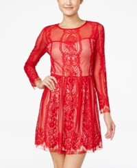 Amy Byer Bcx Juniors' Lace Fit And Flare Dress Multi Red