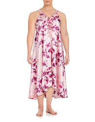 Oscar De La Renta Plus Ruffled Satin Nightgown Pink