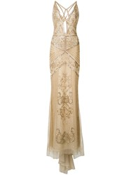 Roberto Cavalli Crossed Back Embroidered Gown Nude Neutrals