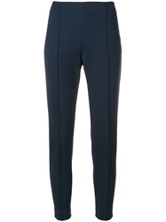 Le Tricot Perugia Cropped Slim Fit Trousers Blue