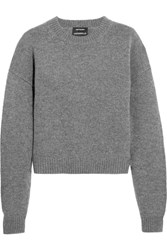 Anthony Vaccarello Wool And Cashmere Blend Sweater Dark Gray
