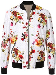 Loveless Floral Print Bomber Jacket White