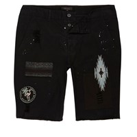 River Island Mensblack Patch Chino Shorts