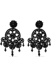 Oscar De La Renta Dreamcatcher Bead And Silk Clip Earrings Black