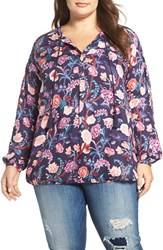 Lucky Brand Plus Size Women's Floral Print Blouse