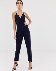 Girl In Mind Lace Top V Neck Jumpsuit Navy