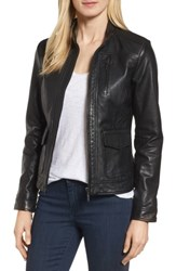 Bernardo Women's Kerwin Pocket Detail Leather Jacket Black