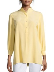 Lafayette 148 New York Declan Silk Three Quarter Sleeve Blouse