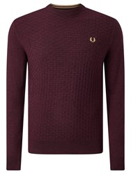 Fred Perry Oxford Texture Merino Wool Crew Neck Jumper Port Marl