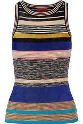 Missoni Striped Crochet Knit Tank Blue