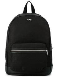 Armani Jeans Logo Print Backpack Black