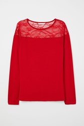Handm H M Top With Lace Yoke Red