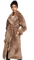 Moon River Tie Waist Faux Fur Jacket Mocha