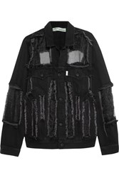 Off White Organza Paneled Frayed Denim Jacket Black