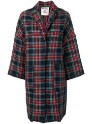 Semicouture Checked Oversized Coat Blue