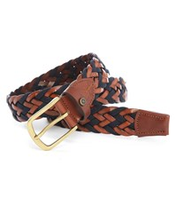 Hackett Brown Red Woven Leather Belt