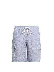 Vilebrequin Bermuda Striped Drawstring Waist Linen Shorts Blue