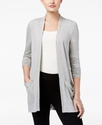 G.H. Bass And Co. Open Front Pocketed Cardigan Dark Heather Grey