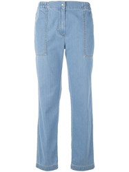 Kenzo Pull On Trousers Women Cotton 38 Blue