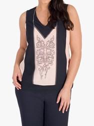 Chesca Contrast Trim Embroidered Cami Top Smoke Shell