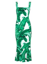 Dolce And Gabbana Banana Leaf Print Fluted Hem Dress