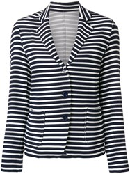 Majestic Filatures Casual Striped Blazer Blue