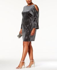 Jessica Howard Plus Size Sequined Velvet Cold Shoulder Dress Charcoal