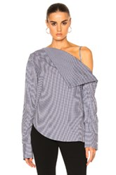 Dion Lee Axis Sleeve Shirt Top In Blue Checkered And Plaid Blue Checkered And Plaid