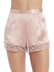 Fleur Du Mal Silk Satin Star Lace Tap Shorts Rose Pink