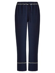 Marni Wide Leg Crepe Trousers Navy