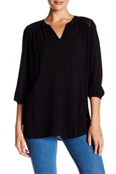 Chaus Embroidered Shoulder Crinkle Blouse Black