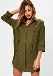 Missguided Khaki Lace Up Front Shirt Dress