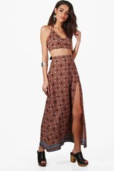 Boohoo Wrap Tie Top And Skirt Woven Co Ord Set Multi