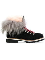 Mr And Mrs Italy Desert Boots Women Leather Rabbit Fur Rubber 37 Black