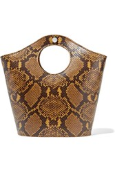 Elizabeth And James Market Shopper Small Snake Effect Leather Tote Brown